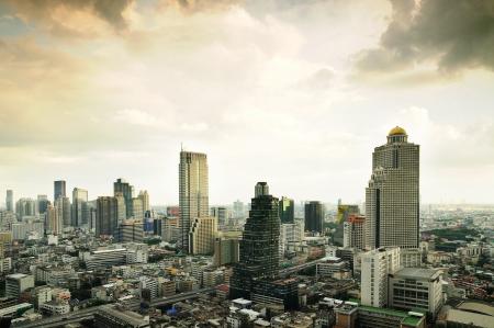 Bangkok city beside express way(Autobahn), Thailand.