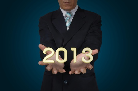 Business Man present the Year 2013 Stock Photo - 16654937