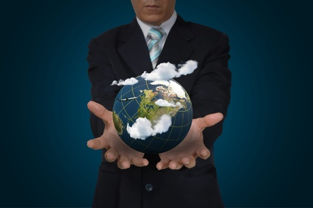 Hand of Business Man hold Earth globe Stock Photo - 16710537