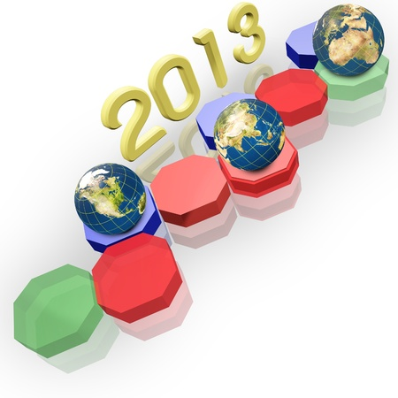Year 2013 and Earth globe and 3d Hexagon button.  Elements of this image furnished by NASA. photo