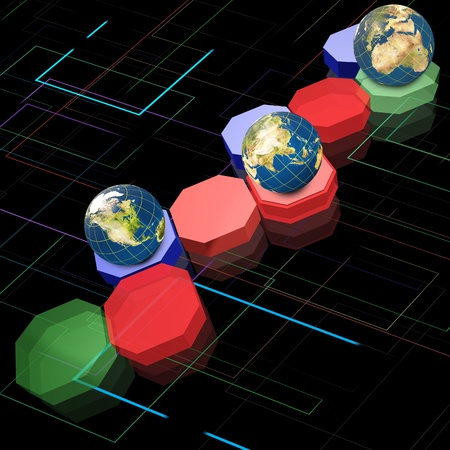 Digital Technology background with Hexagon and Earth globe.  Elements in this image furnished by NASA. photo