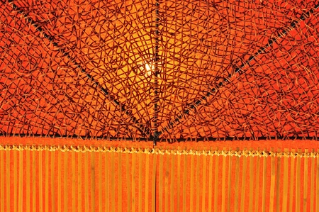 bamboo tree: Background of Fabric and Rattan bind or weaving