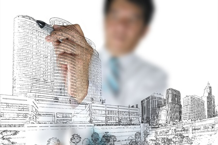 architecture plans: Business Man or architect draw building and cityscape