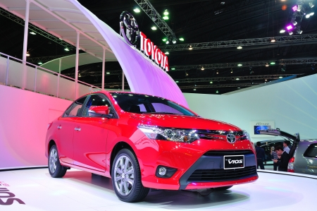 BANGKOK, THAILAND - MAR 30: The All New Toyota Vios Car shown at the Bangkok Motor Show 2013 in Bangkok, Thailand on March 30, 2013.