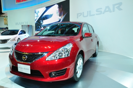 pulsar: BANGKOK, THAILAND - MAR 30: Nissan Pulsar Car shown at the Bangkok Motor Show 2013 in Bangkok, Thailand on March 30, 2013.