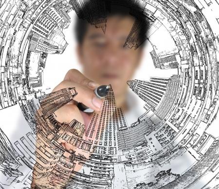 Business man draw cityscape Standard-Bild