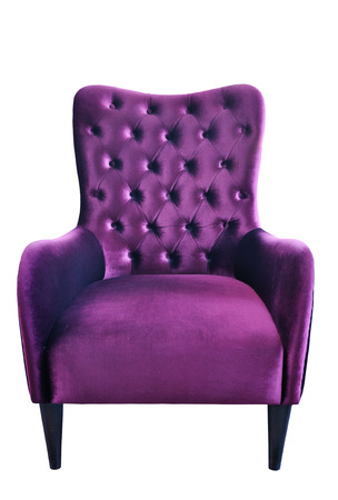 Purple fabric sofa isolated on white background