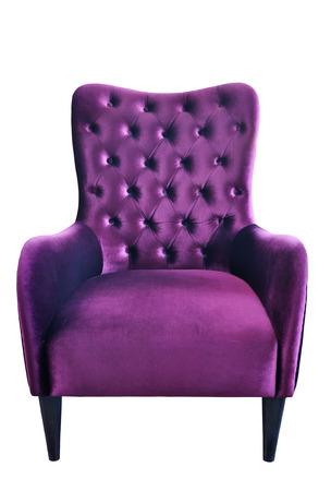 Purple fabric sofa isolated on white background Stock Photo - 23118759