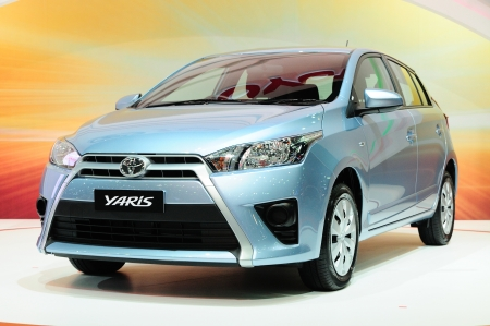 BKK - NOV 28: New Toyota Yaris on display at Thailand International Motor Expo 2013 on NOV 28, 2013 in Bangkok, Thailand.