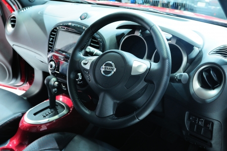 BKK - NOV 28: Interior of the new Nissan JUKE, Cross over car, on display at Thailand International Motor Expo 2013 on NOV 28, 2013 in Bangkok, Thailand.