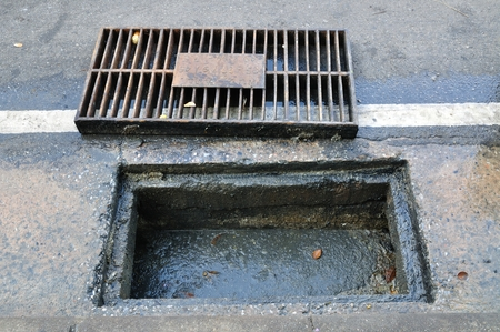 sewer water: Clogged Sewage drain pipe