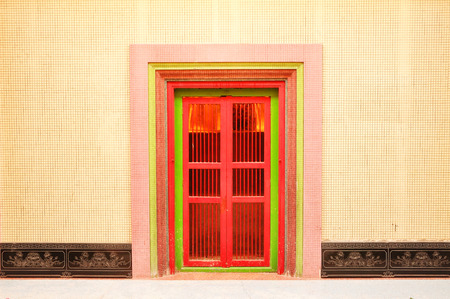 wooden door with chinese traditional style pattern. This is Back door photo