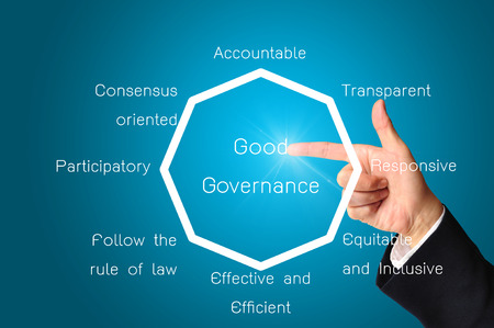 Hand of business man present chart or diagram of good governance  photo