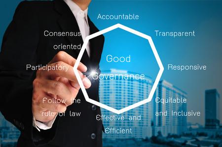 Hand der Geschäftsmann vorhanden Diagramm oder Diagramm von Good Governance Standard-Bild - 26785602