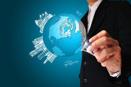 Business Man drawing earth globe photo