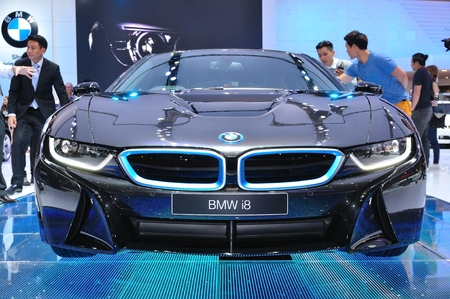 NONTHABURI - MARCH 25: NEW BMW I8  on display at The 35th Bangkok International Motor show on MARCH 25, 2014 in Nonthaburi, Thailand.