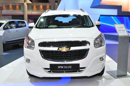 NONTHABURI - March 25: New Chevrolet Spin 1.5 Litre On Display ... on car spin, testimoni chevy spin, hummer spin, honda spin, mobil spin,