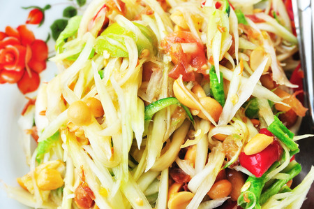 Green papaya salad Thai cuisine spicy delicious     SOM TAM   Thai speak  Stock Photo - 29062670