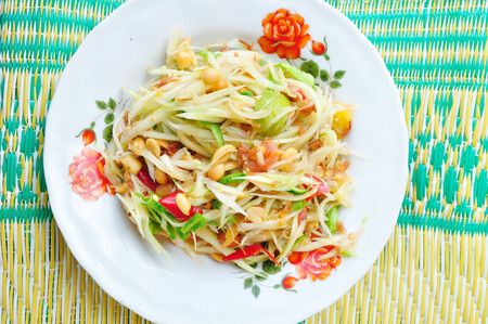 Green papaya salad Thai cuisine spicy delicious     SOM TAM   Thai speak Stock Photo - 29062734