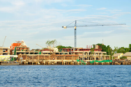 aisa: Construction site beside the River of Chaopraya in Bangkok, Thailand Stock Photo