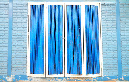 Blue and White Wooden Door with Blue brick wall photo
