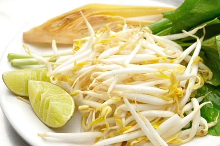 Mung beans or bean sprouts on white plate with lemon or Lime Stock Photo - 29664065