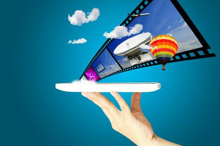 Female Hand hold digital tablet present Full 3D movie