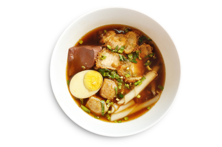 Paste of rice flour with pork.  It is called Guay Jap in Thai language. photo