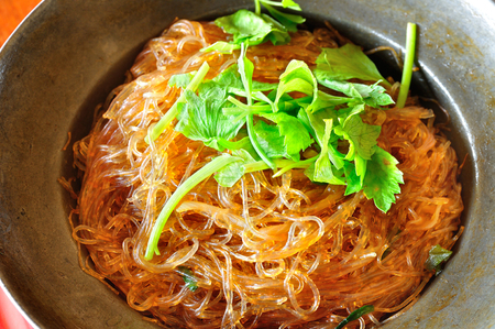 crab meat: Steamed crab vermicelli on a plate. Stock Photo