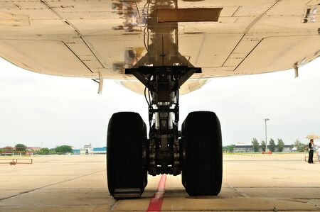 Landing gear of airplane under maintenance. photo
