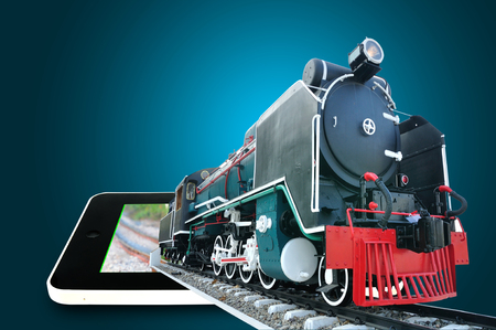 Touch screen Tablet present Vintage Locomotive or Train running through as transportation booking concept photo
