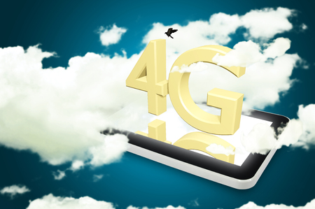wireless communication: Mobile telecommunication cellular high speed data connection concept: 4G LTE wireless communication technology symbol, icon or button on touchscreen smartphone with interface Stock Photo