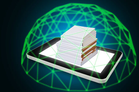 Touch screen Tablet with Stack of White Cover Book under Green force Barrier for use as Illustration as information security concept Stock Photo