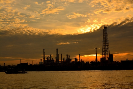 Oil refinery at sunrise, Thailand photo