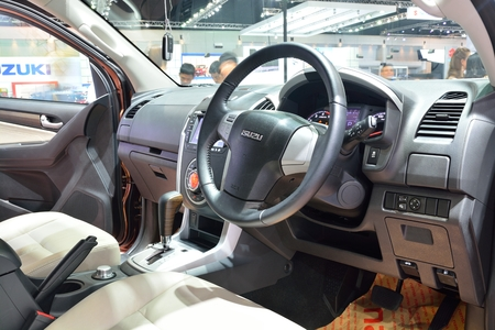 nonthaburi: NONTHABURI - DECEMBER 1: Interior design of Isuzu mu-X SUV car display at Thailand International Motor Expo on December 1, 2014 in Nonthaburi, Thailand.