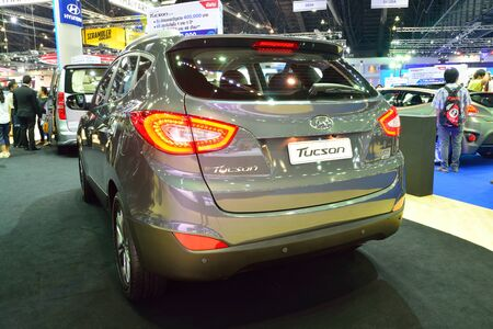 nonthaburi: NONTHABURI - DECEMBER 1: Hyundai Tucson SUV car display at Thailand International Motor Expo on December 1, 2014 in Nonthaburi, Thailand.