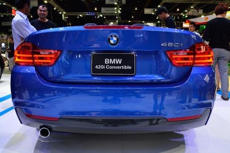 nonthaburi: NONTHABURI - DECEMBER 1: BMW 420I Convertible car display at Thailand International Motor Expo on December 1, 2014 in Nonthaburi, Thailand. Editorial