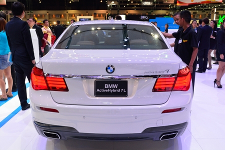 nonthaburi: NONTHABURI - DECEMBER 1: BMW Activehybrid 7L car display at Thailand International Motor Expo on December 1, 2014 in Nonthaburi, Thailand.