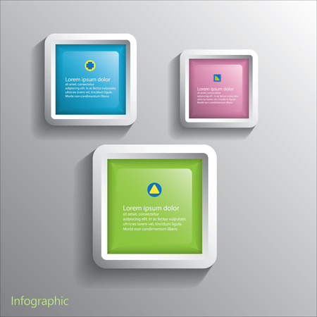 quench: Infographic design of Square glass Button on the grey background.