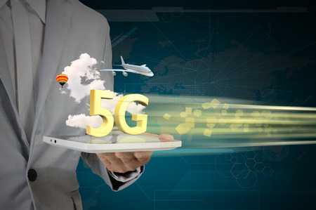 high speed internet: Business Man use Tablet PC on 5G High speed network communication internet.