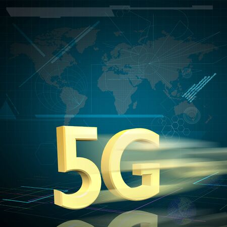 5g: Symbol of Gold 5G speed internet on Digital background as High speed communication concept