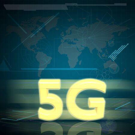 high speed internet: Symbol of Gold 5G speed internet on Digital background as High speed communication concept