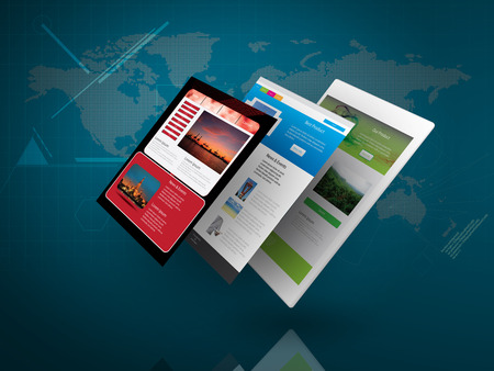 Tablet PC with Web Page on Blue Technology Background as Telecommunication concept Standard-Bild