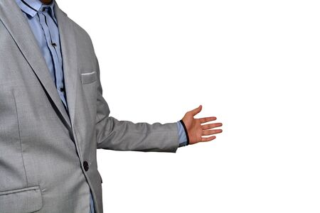 sales manager: Business Man show welcome or invite gesture on White Background with Clipping path