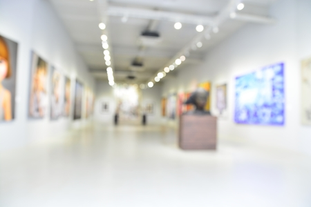 Blur or Defocus image of the lobby of a modern art center as background with bokeh Stok Fotoğraf