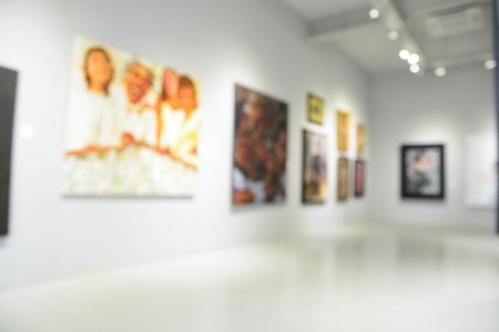 Blur or Defocus image of the lobby of a modern art center as background with bokeh photo