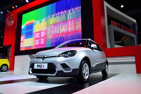 cc: BANGKOK - March 26 : MG 3 Hatchback Car, Adventure edition, with 1500 cc VTi engine on DisPlay at 36th Bangkok International Motor Show 2015, on March 26, 2015 in Bangkok, Thailand. Editorial