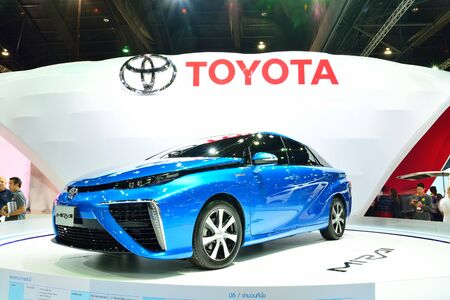 26: BANGKOK - March 26 : Toyota Mirai, Hydrogen engine Vehicle, on DisPlay at 36th Bangkok International Motor Show on March 26, 2015 in Bangkok, Thailand.