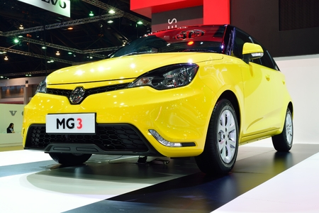 cc: BANGKOK - March 26 : MG 3 Hatchback Car with 1500 cc VTi engine on DisPlay at 36th Bangkok International Motor Show 2015, on March 26, 2015 in Bangkok, Thailand. Editorial