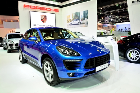 26: BANGKOK - March 26 : New Porsche Macan, Cross over Car, on DisPlay at 36th Bangkok International Motor Show on March 26, 2015 in Bangkok, Thailand.